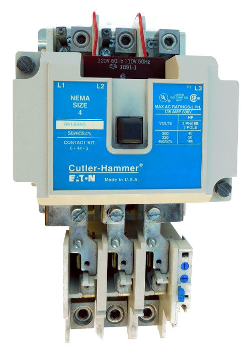 AN16NN0AB Magnetic Motor Starter, Nema Size 4, 135 Amps, 3 Poles, 120VAC Coil, Full Voltage 600VAC, Type B Overload Relay Standard, Open Style No Enclosure, Across the Line Starting and Stopping, Single Speed, Non-Reversing, Max HP Ratings (3 Phase): 40 @ 208VAC, 50 @ 240VAC, 100 @ 480VAC, 100 @ 600VAC. New Surplus and Certified Reconditioned with 1 Year Warranty.