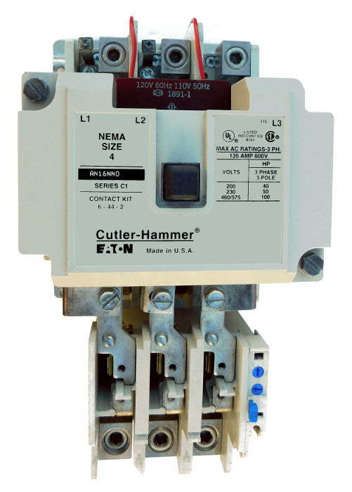 AN16NN0AC Magnetic Motor Starter, Nema Size 4, 135 Amps, 3 Poles, 120VAC Coil, Full Voltage 600VAC, Type C Overload Relay Standard, Open Style No Enclosure, Across the Line Starting and Stopping, Single Speed, Non-Reversing, Max HP Ratings (3 Phase): 40 @ 208VAC, 50 @ 240VAC, 100 @ 480VAC, 100 @ 600VAC. New Surplus and Certified Reconditioned with 1 Year Warranty.
