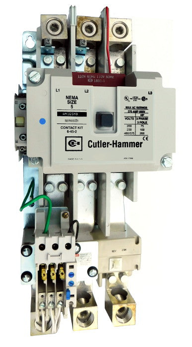 AN16SN0AC Magnetic Motor Starter, Nema Size 5, 270 Amps, 3 Poles, 120VAC Coil, Full Voltage 600VAC, Type C Overload Relay Standard, Open Style No Enclosure, Across the Line Starting and Stopping, Single Speed, Non-Reversing, Max HP Ratings (3 Phase): 75 @ 208VAC, 100 @ 240VAC, 200 @ 480VAC, 200 @ 600VAC. New Surplus and Certified Reconditioned with 1 Year Warranty.