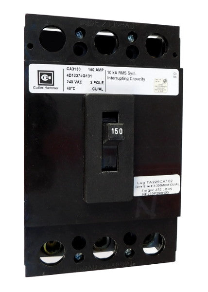 CA3125X CA Frame Style, Molded Case Circuit Breaker, Thermal Magnetic Fixed Trip Unit, 125 Ampere at 40 Degree Celsius, 3 Pole, 240VAC @ 50/60HZ, Interrupting Rating: 10 Kiloampere @ 240VAC, Load End Terminals Standard. New Surplus and Certified Reconditioned with 1 Year Warranty.