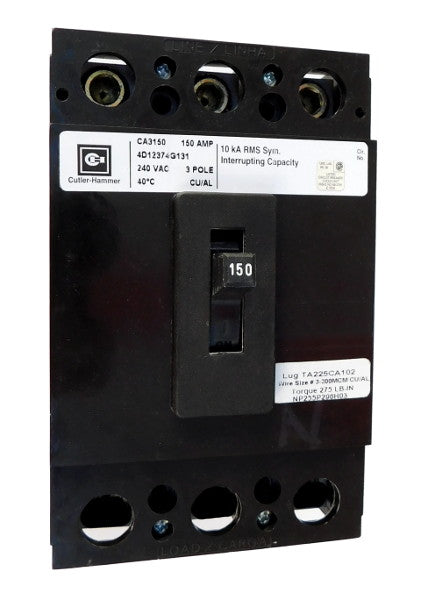 CA3125Y CA Frame Style, Molded Case Circuit Breaker, Thermal Magnetic Fixed Trip Unit, 125 Ampere at 40 Degree Celsius, 3 Pole, 240VAC @ 50/60HZ, Interrupting Rating: 10 Kiloampere @ 240VAC, Line End Terminals Standard. New Surplus and Certified Reconditioned with 1 Year Warranty.