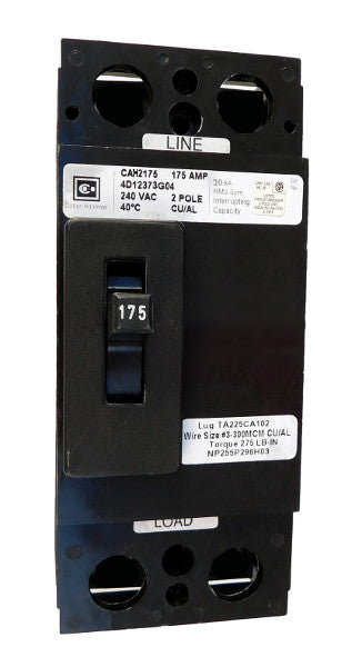 CA2125W CA Frame Style, Molded Case Circuit Breaker, Thermal Magnetic Fixed Trip Unit, 125 Ampere at 40 Degree Celsius, 2 Pole, 240VAC @ 50/60HZ, Interrupting Rating: 10 Kiloampere @ 240VAC, Without Terminals Standard. New Surplus and Certified Reconditioned with 1 Year Warranty.