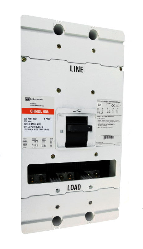 CHMDL3800F CHMDL Frame Style, Molded Case Circuit Breaker Frame, High Interrupting Capacity, 100% Rated, Frame Only (No Trip Unit Included, Uses Electronic Trip Units Only), 3 Pole, 800VAC @ 50/60HZ. New Surplus and Certified Reconditioned with 1 Year Warranty.