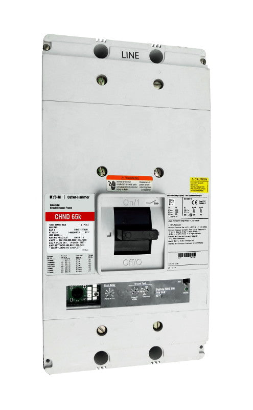 CHND312T33W CHND Frame Style, Molded Case Circuit Breaker, 100% Rated, High Interrupting Capacity, Electronic Non-Interchangeable Trip Unit (Digitrip RMS 310), LS Trip Unit Functions, 1200 Ampere at 40 Degree Celsius, 3 Pole, 600VAC @ 50/60HZ, Without Terminals. New Surplus and Certified Reconditioned with 1 Year Warranty.