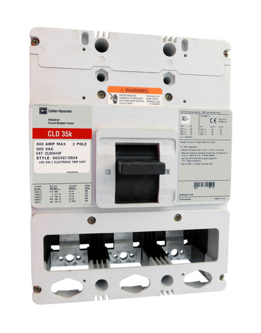 CLD3600F CLD Frame Style, Molded Case Circuit Breaker Frame, 100% Rated, Frame Only (No Trip Unit Included, Uses Electronic Trip Units Only), 3 Pole, 600VAC @ 50/60HZ. New Surplus and Certified Reconditioned with 1 Year Warranty.