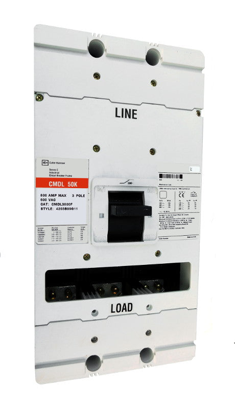 CMDL3800F CMDL Frame Style, Molded Case Circuit Breaker Frame, 100% Rated, Frame Only (No Trip Unit Included, Uses Electronic Trip Units Only), 3 Pole, 800VAC @ 50/60HZ. New Surplus and Certified Reconditioned with 1 Year Warranty.