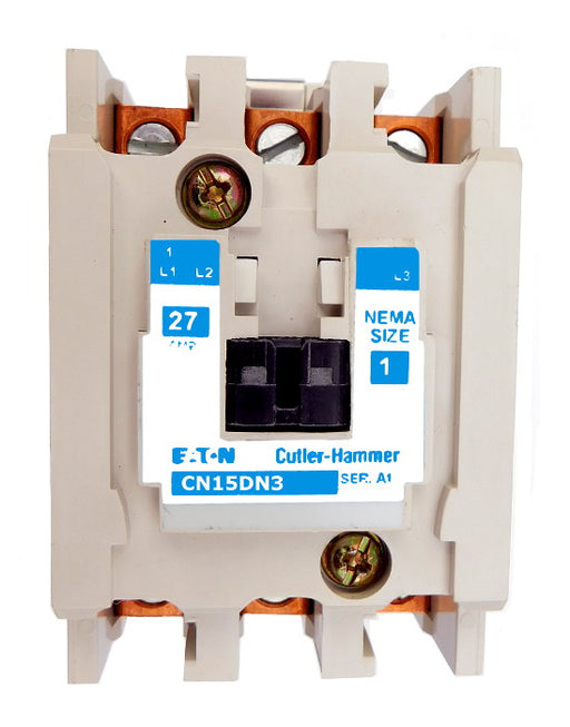 CN15DN3A Magnetic Motor Contactor, A Series, NEMA Size 1, 27 Amps, 3 Poles, 120V AC Coil, Full Voltage 600VAC, Open Style No Enclosure, Non-Reversing, Max HP Ratings: 7 1/2 @ 208VAC, 7 1/2 @ 240VAC, 10 @ 480VAC, 10 @ 600VAC, Line and Load End Terminals Standard. New Surplus and Certified Reconditioned with 1 Year Warranty.