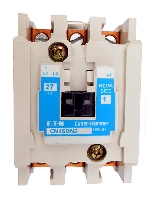 CN15DN3AB Magnetic Motor Contactor, B Series, NEMA Size 1, 27 Amps, 3 Poles, 120V AC Coil, Full Voltage 600VAC, Open Style No Enclosure, Non-Reversing, Max HP Ratings: 7 1/2 @ 208VAC, 7 1/2 @ 240VAC, 10 @ 480VAC, 10 @ 600VAC. New Surplus and Certified Reconditioned with 1 Year Warranty.