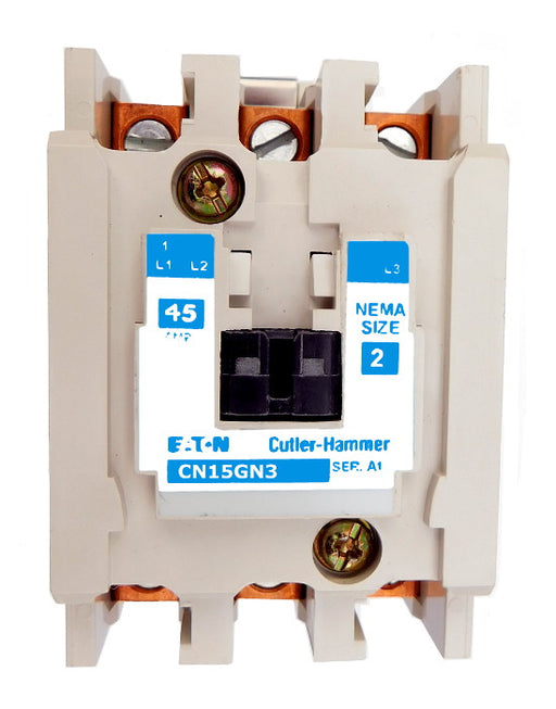 CN15GN3A Magnetic Motor Contactor, A Series, NEMA Size 2, 45 Amps, 3 Poles, 120V AC Coil, Full Voltage 600VAC, Open Style No Enclosure, Non-Reversing, Max HP Ratings: 10 @ 208VAC, 15 @ 240VAC, 25 @ 480VAC, 25 @ 600VAC. New Surplus and Certified Reconditioned with 1 Year Warranty.