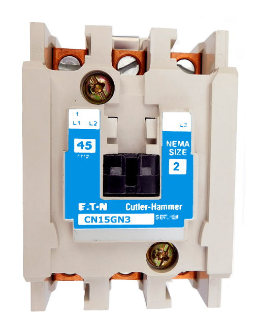 CN15GN3AB Magnetic Motor Contactor, B Series, NEMA Size 2, 45 Amps, 3 Poles, 120V AC Coil, Full Voltage 600VAC, Open Style No Enclosure, Non-Reversing, Max HP Ratings: 10 @ 208VAC, 15 @ 240VAC, 25 @ 480VAC, 25 @ 600VAC, Line and Load End Terminals Standard. New Surplus and Certified Reconditioned with 1 Year Warranty.