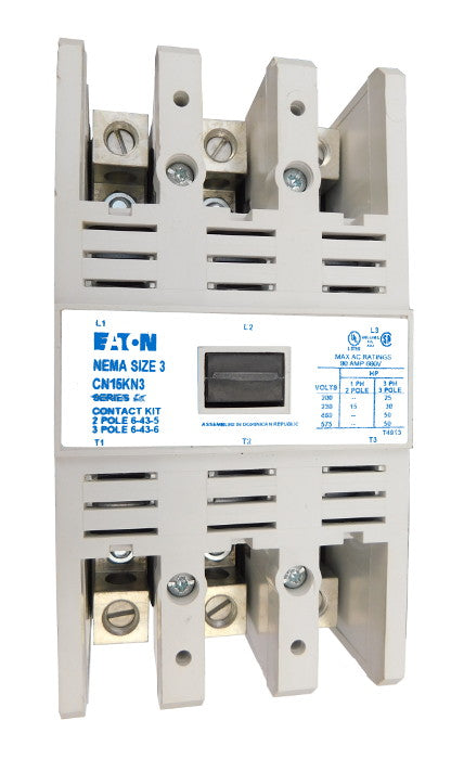 CN15KN3A Magnetic Motor Contactor, A Series, NEMA Size 3, 90 Amps, 3 Poles, 120V AC Coil, Full Voltage 600VAC, Open Style No Enclosure, Non-Reversing, Max HP Ratings: 25 @ 208VAC, 30 @ 240VAC, 50 @ 480VAC, 50 @ 600VAC, Line and Load End Terminals Standard. New Surplus and Certified Reconditioned with 1 Year Warranty.