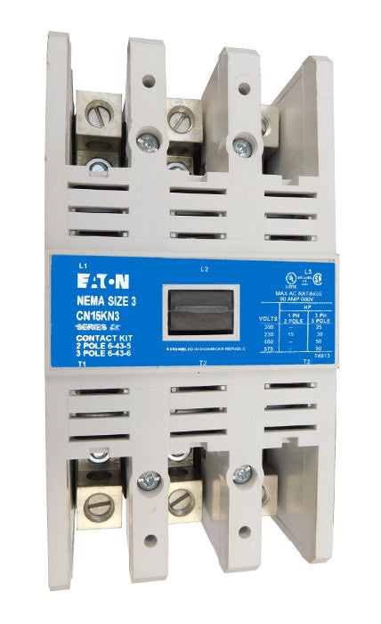 CN15KN3AB Magnetic Motor Contactor, B Series, NEMA Size 3, 90 Amps, 3 Poles, 120V AC Coil, Full Voltage 600VAC, Open Style No Enclosure, Non-Reversing, Max HP Ratings: 25 @ 208VAC, 30 @ 240VAC, 50 @ 480VAC, 50 @ 600VAC. New Surplus and Certified Reconditioned with 1 Year Warranty.