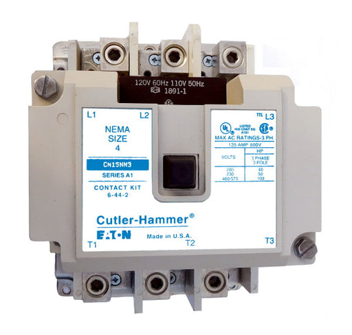 CN15NN3A Magnetic Motor Contactor, A Series, NEMA Size 4, 135 Amps, 3 Poles, 120V AC Coil, Full Voltage 600VAC, Open Style No Enclosure, Non-Reversing, Max HP Ratings: 40 @ 208VAC, 50 @ 240VAC, 100 @ 480VAC, 100 @ 600VAC, Line and Load End Terminals Standard. New Surplus and Certified Reconditioned with 1 Year Warranty.