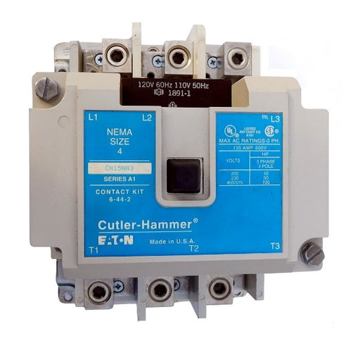 CN15NN3AB Magnetic Motor Contactor, B Series, NEMA Size 4, 135 Amps, 3 Poles, 120V AC Coil, Full Voltage 600VAC, Open Style No Enclosure, Non-Reversing, Max HP Ratings: 40 @ 208VAC, 50 @ 240VAC, 100 @ 480VAC, 100 @ 600VAC. New Surplus and Certified Reconditioned with 1 Year Warranty.