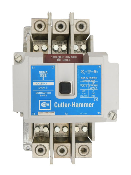 CN15SN3AB Magnetic Motor Contactor, B Series, NEMA Size 5, 270 Amps, 3 Poles, 120V AC Coil, Full Voltage 600VAC, Open Style No Enclosure, Non-Reversing, Max HP Ratings: 75 @ 208VAC, 100 @ 240VAC, 200 @ 480VAC, 200 @ 600VAC. New Surplus and Certified Reconditioned with 1 Year Warranty.