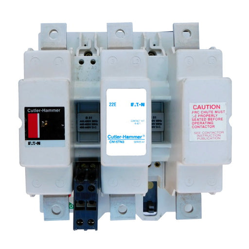 CN15TN3A Magnetic Motor Contactor, A Series, NEMA Size 6, 540 Amps, 3 Poles, 120V AC Coil, Full Voltage 600VAC, Open Style No Enclosure, Non-Reversing, Max HP Ratings: 150 @ 208VAC, 200 @ 240VAC, 400 @ 480VAC, 400 @ 600VAC, No Terminals Standard. New Surplus and Certified Reconditioned with 1 Year Warranty.