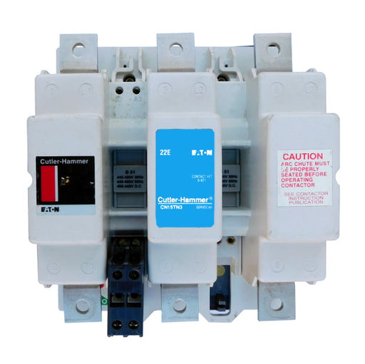CN15TN3AB Magnetic Motor Contactor, B Series, NEMA Size 6, 540 Amps, 3 Poles, 120V AC Coil, Full Voltage 600VAC, Open Style No Enclosure, Non-Reversing, Max HP Ratings: 150 @ 208VAC, 200 @ 240VAC, 400 @ 480VAC, 400 @ 600VAC. New Surplus and Certified Reconditioned with 1 Year Warranty.