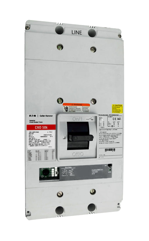 CND312T32W CND Frame Style, Molded Case Circuit Breaker, 100% Rated, Electronic Non-Interchangeable Trip Unit (Digitrip RMS 310), LSI Trip Unit Functions, 1200 Ampere at 40 Degree Celsius, 3 Pole, 600VAC @ 50/60HZ, Interrupting Ratings: 65 Kiloampere @ 240VAC, 50 Kiloampere @ 480VAC, 25 Kiloampere @ 600VAC, Without Terminals. New Surplus and Certified Reconditioned with 1 Year Warranty.