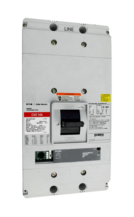 CND312T33W CND Frame Style, Molded Case Circuit Breaker, 100% Rated, Electronic Non-Interchangeable Trip Unit (Digitrip RMS 310), LS Trip Unit Functions, 1200 Ampere at 40 Degree Celsius, 3 Pole, 600VAC @ 50/60HZ, Interrupting Ratings: 65 Kiloampere @ 240VAC, 50 Kiloampere @ 480VAC, 25 Kiloampere @ 600VAC, Without Terminals. New Surplus and Certified Reconditioned with 1 Year Warranty.