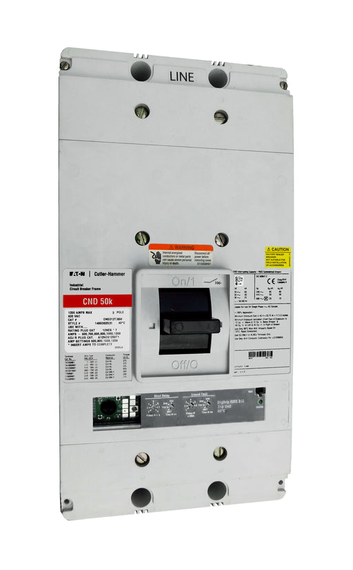 CND312T36W CND Frame Style, Molded Case Circuit Breaker, 100% Rated, Electronic Non-Interchangeable Trip Unit (Digitrip RMS 310), LSIG Trip Unit Functions, 1200 Ampere at 40 Degree Celsius, 3 Pole, 600VAC @ 50/60HZ, Interrupting Ratings: 65 Kiloampere @ 240VAC, 50 Kiloampere @ 480VAC, 25 Kiloampere @ 600VAC, Without Terminals. New Surplus and Certified Reconditioned with 1 Year Warranty.