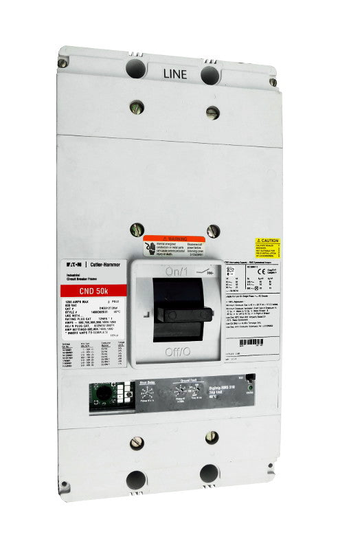 CND312T35W CND Frame Style, Molded Case Circuit Breaker, 100% Rated, Electronic Non-Interchangeable Trip Unit (Digitrip RMS 310), LSG Trip Unit Functions, 1200 Ampere at 40 Degree Celsius, 3 Pole, 600VAC @ 50/60HZ, Interrupting Ratings: 65 Kiloampere @ 240VAC, 50 Kiloampere @ 480VAC, 25 Kiloampere @ 600VAC, Without Terminals. New Surplus and Certified Reconditioned with 1 Year Warranty.