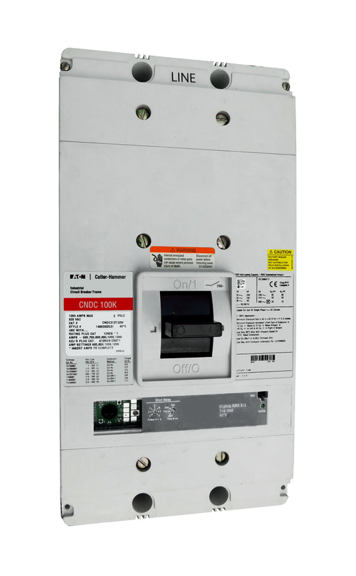 CNDC312T32W CNDC Frame Style, Molded Case Circuit Breaker, 100% Rated, Ultra High Interrupting Capacity, Electronic Non-Interchangeable Trip Unit (Digitrip RMS 310), LSI Trip Unit Functions, 1200 Ampere at 40 Degree Celsius, 3 Pole, 600VAC @ 50/60HZ, Rating Plug Not Included, Without Terminals. New Surplus and Certified Reconditioned with 1 Year Warranty.