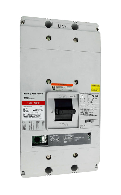 CNDC312T36W CNDC Frame Style, Molded Case Circuit Breaker, 100% Rated, Ultra High Interrupting Capacity, Electronic Non-Interchangeable Trip Unit (Digitrip RMS 310), LSIG Trip Unit Functions, 1200 Ampere at 40 Degree Celsius, 3 Pole, 600VAC @ 50/60HZ, Rating Plug Not Included, Without Terminals. New Surplus and Certified Reconditioned with 1 Year Warranty.