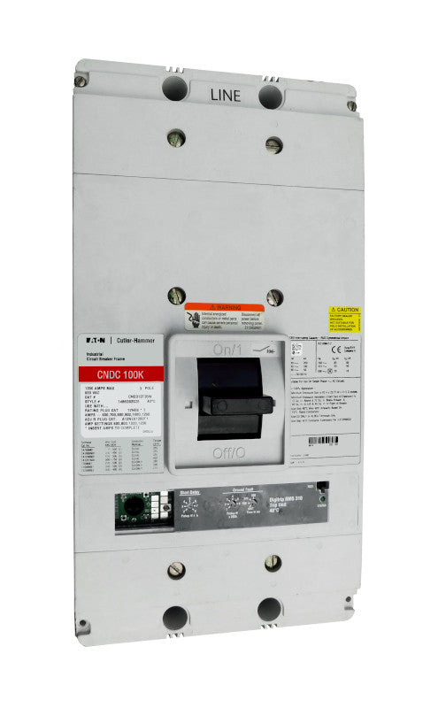 CNDC3800T36W CNDC Frame Style, Molded Case Circuit Breaker, 100% Rated, Ultra High Interrupting Capacity, Electronic Non-Interchangeable Trip Unit (Digitrip RMS 310), LSIG Trip Unit Functions, 800 Ampere at 40 Degree Celsius, 3 Pole, 600VAC @ 50/60HZ, Interrupting Ratings: 200 Kiloampere @ 240VAC, 100 Kiloampere @ 480VAC, 50 Kiloampere @ 600VAC, Rating Plug Not Included, Without TerminalsNew Surplus and Certified Reconditioned with 1 Year Warranty.