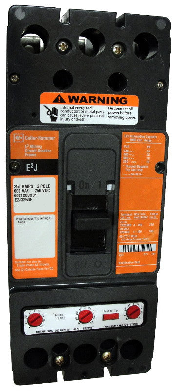 E2J3125WU17 E2J Frame Style, Molded Case Mining Circuit Breaker, Interchangeable Thermal-Magnetic Trip Unit, 125 Ampere at 40 Degree Celsius, 3 Pole, 600VAC @ 50/60HZ, Without Terminals Standard, U17 Option Includes: [110-127 VAC UVR Installed, Non LED, Left Pole Mounted, Exiting Left]. 1 Year Warranty.