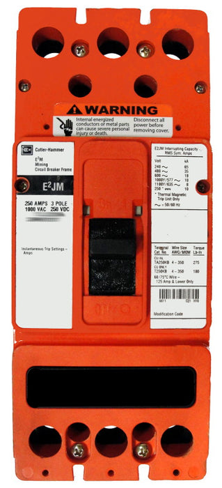 E2JM3250F (Frame Only) E2JM Frame Style, Molded Case Mining Circuit Breaker, Frame Only, 3 Pole, 1000VAC @ 50/60HZ, Interrupting Ratings: 35 Kiloampere @ 480VAC, 18 Kiloampere @ 600VAC, 10 Kiloampere @ 1000VAC, 10 Kiloampere @ 250VDC, Line and Load End Terminals Standard. 1 Year Warranty.