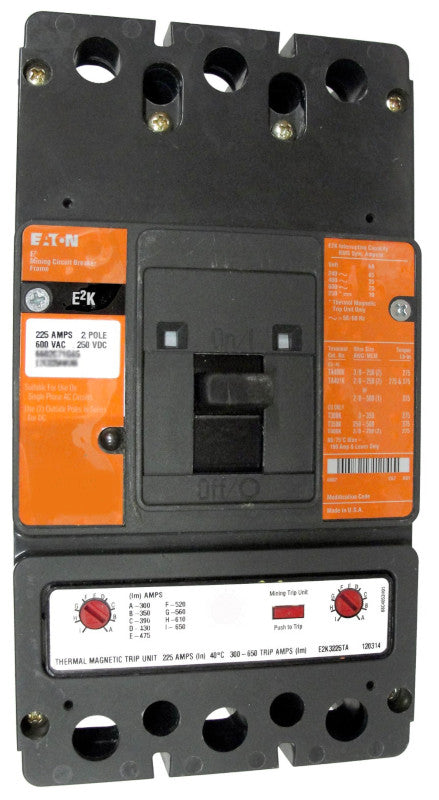 E2K2400MWWS10 E2K Frame Style, Molded Case Mining Circuit Breaker, Interchangeable Magnetic Only Trip Unit, 400 Ampere at 40 Degree Celsius, 2 Pole, 600VAC @ 50/60HZ, Without Terminals Standard, S10 Option Includes: [110-240 VAC or 110-125 VDC Shunt Trip Installed, Left Pole Mounted, Exiting Rear]. 1 Year Warranty.