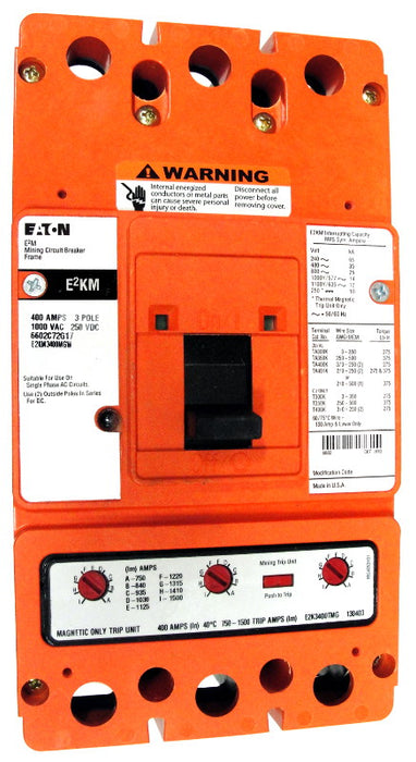 E2KM3400MWW E2KM Frame Style, Molded Case Mining Circuit Breaker, Interchangeable Magnetic Only Trip Unit, 400 Ampere at 40 Degree Celsius, 3 Pole, 1000VAC @ 50/60HZ, Without Terminals Standard. 1 Year Warranty.