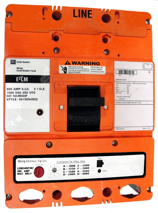 E2LEM36002W E2L Frame Style, Molded Case Mining Circuit Breaker, Interchangeable Electronic Only Trip Unit, Long/Instantaneous, 600 Ampere at 40 Degree Celsius, 3 Pole, 1000VAC @ 50/60HZ, Without Terminals Standard. 1 Year Warranty.