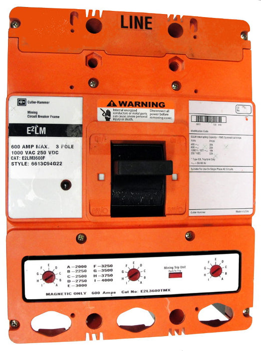E2LM3600MLW E2L Frame Style, Molded Case Mining Circuit Breaker, Interchangeable Magnetic Only Trip Unit, 600 Ampere at 40 Degree Celsius, 3 Pole, 1000VAC @ 50/60HZ, Without Terminals Standard. 1 Year Warranty.