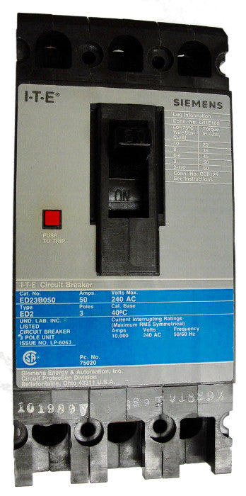 ED23B040 / ED23B040L ED Frame Style, Molded Case Circuit Breaker, Thermal Magnetic Non-interchangeable Trip Unit, 40 Ampere at 40 Degree Celsius, 3 Pole, 240VAC @ 50/60HZ, Interrupting Ratings: 10 Kiloampere @ 240VAC, Line and Load End Terminals Standard. New Surplus and Certified Reconditioned with 1 Year Warranty.