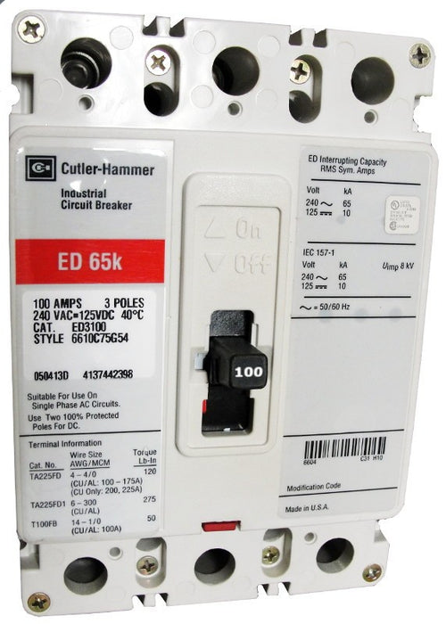 ED3100 ED Frame Style, Molded Case Circuit Breaker, Thermal Magnetic Non-interchangeable Trip Unit, 100 Ampere at 40 Degree Celsius, 3 Pole, 240VAC @ 50/60HZ, Line and Load End Terminals Standard. New Surplus and Certified Reconditioned with 1 Year Warranty.