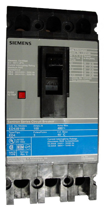 ED43B090 ED Frame Style, Molded Case Circuit Breaker, Thermal Magnetic Non-interchangeable Trip Unit, 90 Ampere at 40 Degree Celsius, 3 Pole, 240VAC and 480VAC @ 50/60HZ. New Surplus and Certified Reconditioned with 1 Year Warranty.
