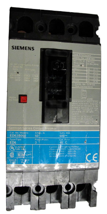 ED63B090 / ED63B090L ED Frame Style, Molded Case Circuit Breaker, Thermal Magnetic Non-interchangeable Trip Unit, 90 Ampere at 40 Degree Celsius, 3 Pole, 240VAC, 480VAC, and 600VAC @ 50/60HZ, Line and Load End Terminals Standard. New Surplus and Certified Reconditioned with 1 Year Warranty.