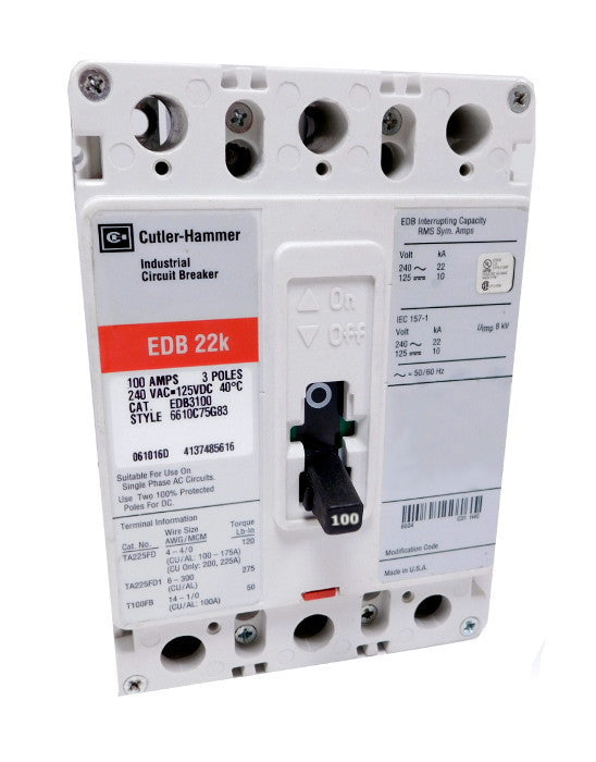 EDB3100 EDB Frame Style, Molded Case Circuit Breaker, Thermal Magnetic Non-interchangeable Trip Unit, 100 Ampere at 40 Degree Celsius, 3 Pole, 240VAC @ 50/60HZ, Line and Load End Terminals Standard. New Surplus and Certified Reconditioned with 1 Year Warranty.