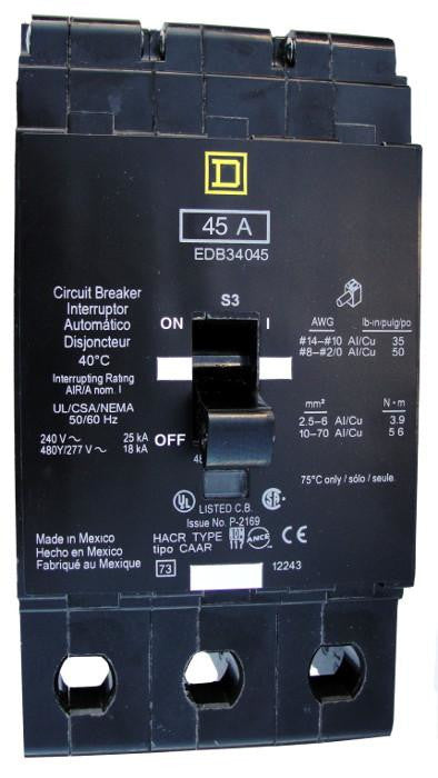 EDB34045 EDB Frame Style, Molded Case Circuit Breaker, Thermal Magnetic Non-interchangeable Trip Unit, VISI-TRIP Feature, 45 Ampere at 40 Degree Celsius, 3 Pole, 240 VAC, 480Y/277 VAC, Load End Terminals Standard. New Surplus and Certified Reconditioned with 1 Year Warranty.