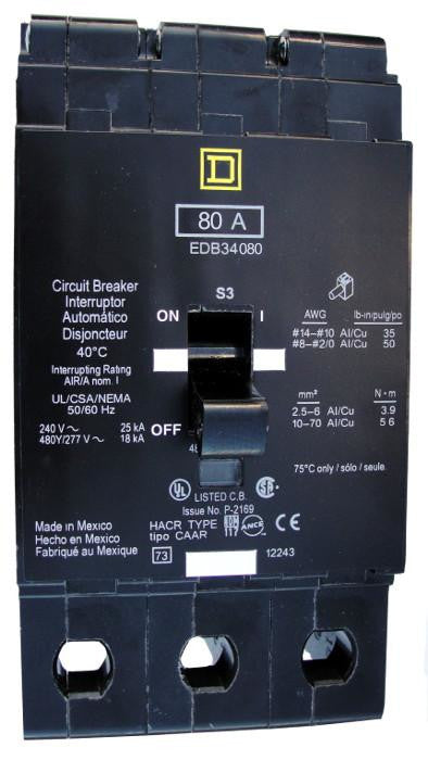 EDB34080 EDB Frame Style, Molded Case Circuit Breaker, Thermal Magnetic Non-interchangeable Trip Unit, VISI-TRIP Feature, 80 Ampere at 40 Degree Celsius, 3 Pole, 240 VAC, 480Y/277 VAC, Load End Terminals Standard. New Surplus and Certified Reconditioned with 1 Year Warranty.