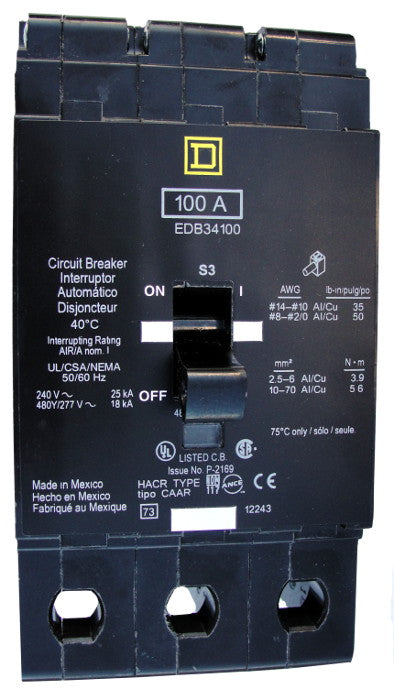 EDB34100 EDB Frame Style, Molded Case Circuit Breaker, Thermal Magnetic Non-interchangeable Trip Unit, VISI-TRIP Feature, 100 Ampere at 40 Degree Celsius, 3 Pole, 240 VAC, 480Y/277 VAC, Load End Terminals Standard. New Surplus and Certified Reconditioned with 1 Year Warranty.