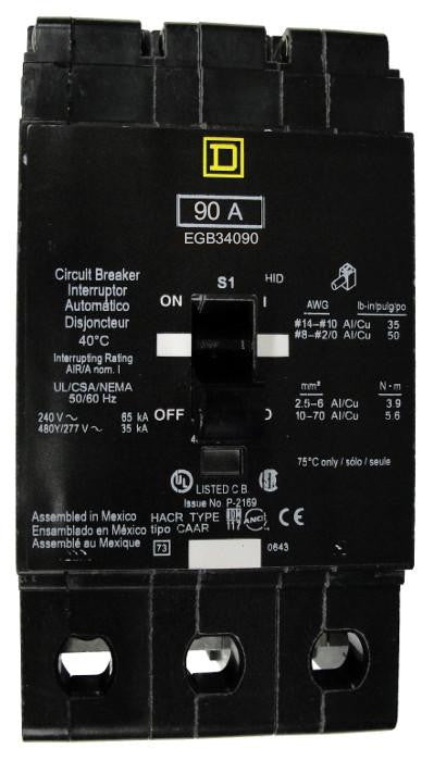 EGB34090 EGB Frame Style, Molded Case Circuit Breaker, Thermal Magnetic Non-interchangeable Trip Unit, VISI-TRIP Feature, 90 Ampere at 40 Degree Celsius, 3 Pole, 240 VAC, 480Y/277 VAC, Load End Terminals Standard. New Surplus and Certified Reconditioned with 1 Year Warranty.
