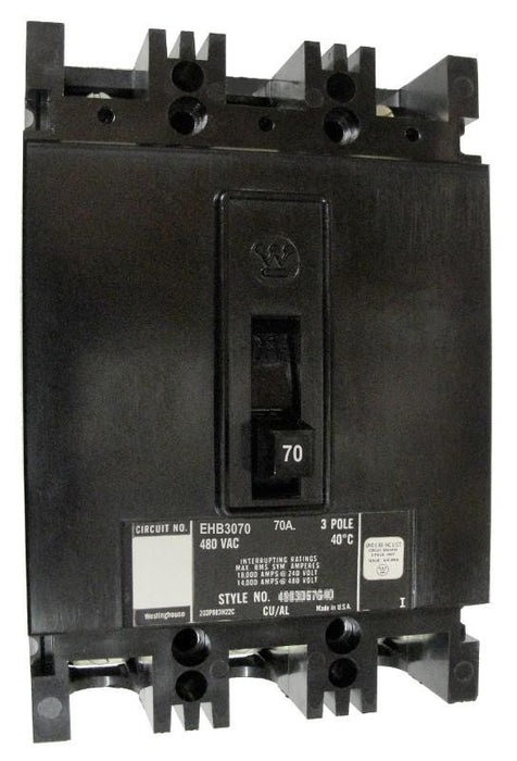 EHB3070 EHB Frame Style, Molded Case Circuit Breaker, Thermal Magnetic Non-interchangeable Trip Unit, 70 Ampere at 40 Degree Celsius, 3 Pole, 480 VAC @ 50/60HZ, Interrupting Ratings: 18 Kiloampere @ 240 VAC, 14 Kiloampere @ 480 VAC. New Surplus and Certified Reconditioned with 1 Year Warranty.