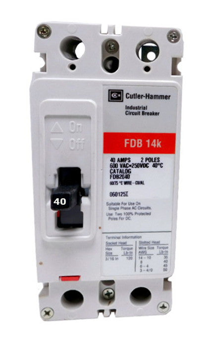FDB2040 FDB Frame Style, Molded Case Circuit Breaker, Thermal Magnetic Non-interchangeable Trip Unit, 40 Ampere at 40 Degree Celsius, 2 Pole, 600VAC @ 50/60HZ, Line and Load End Terminals Standard. New Surplus and Certified Reconditioned with 1 Year Warranty.