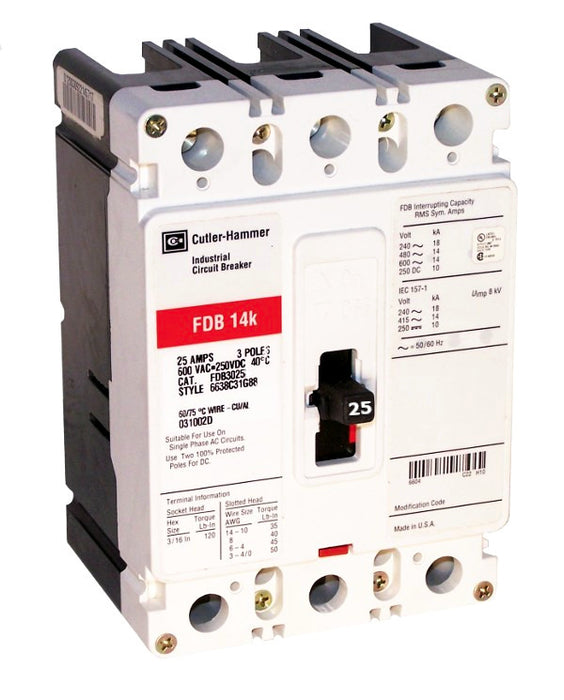 FDB3025 FDB Frame Style, Molded Case Circuit Breaker, Thermal Magnetic Non-interchangeable Trip Unit, 25 Ampere at 40 Degree Celsius, 3 Pole, 600VAC @ 50/60HZ, Line and Load End Terminals Standard. New Surplus and Certified Reconditioned with 1 Year Warranty.