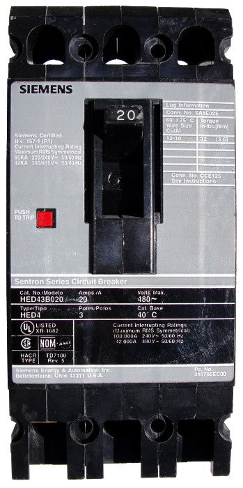 HED43B035 / HED43B035L HED Frame Style, Molded Case Circuit Breaker, Thermal Magnetic Non-interchangeable Trip Unit, 35 Ampere at 40 Degree Celsius, 3 Pole, 240VAC and 480VAC @ 50/60HZ, Line and Load End Terminals Standard. New Surplus and Certified Reconditioned with 1 Year Warranty.