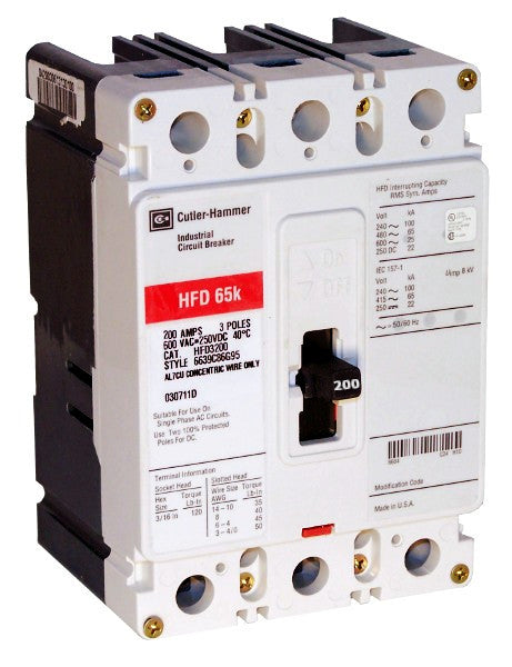 HFD3200 HFD Frame Style, Molded Case Circuit Breaker, Thermal Magnetic Non-interchangeable Trip Unit, High Interrupting Capacity, 200 Ampere at 40 Degree Celsius, 3 Pole, 600VAC @ 50/60HZ, Line and Load End Terminals Standard. New Surplus and Certified Reconditioned with 1 Year Warranty.