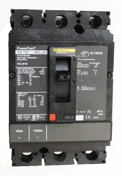 HGL36150 HGL Frame Style, PowerPact, Molded Case Circuit Breaker, Thermal Magnetic Non-interchangeable Trip Unit, 150 Ampere at 40 Degree Celsius, 3 Pole, Line and Load End Terminals Standard. New Surplus and Certified Reconditioned with 1 Year Warranty.