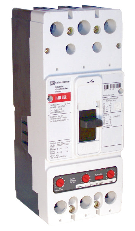 HJD3225 HJD Frame Style, Molded Case Circuit Breaker, High Interrupting Capacity, Thermal Magnetic Interchangeable Trip Unit, 225 Ampere at 40 Degree Celsius, 3 Pole, 600VAC @ 50/60HZ. New Surplus and Certified Reconditioned with 1 Year Warranty.